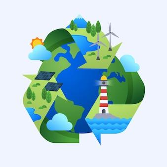 Illustration de concept de changement climatique design plat