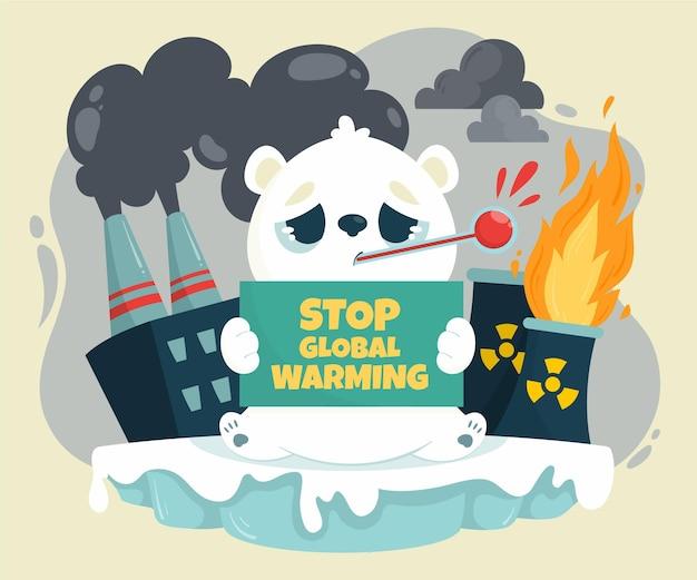 Illustration de concept de changement climatique plat dessiné à la main