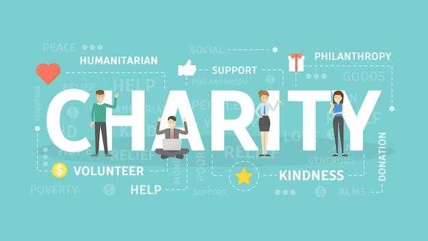 Illustration de concept de charité. idée de dons et d'aide.