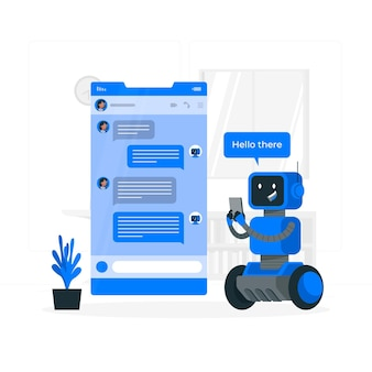 Illustration de concept de chat bot