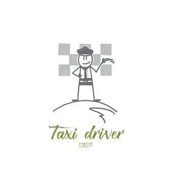 Illustration de concept de chauffeur de taxi