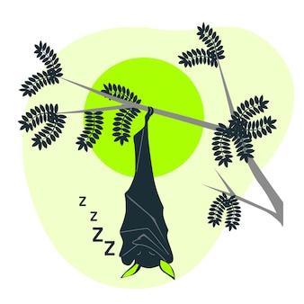 Illustration de concept de chauve-souris endormie