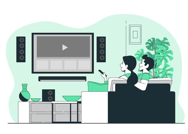 Illustration de concept de cinéma maison