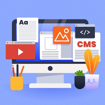 Illustration de concept de cms plat