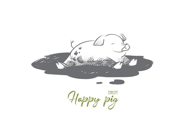 Illustration de concept de cochon heureux