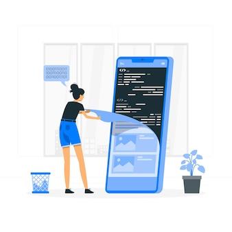 Illustration de concept de code source