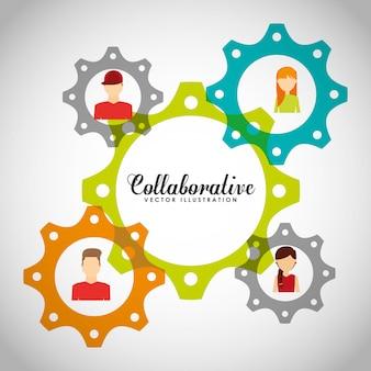 Illustration de concept collaboratif