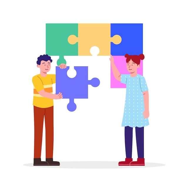 Illustration de concept de collaboration enfants ensemble