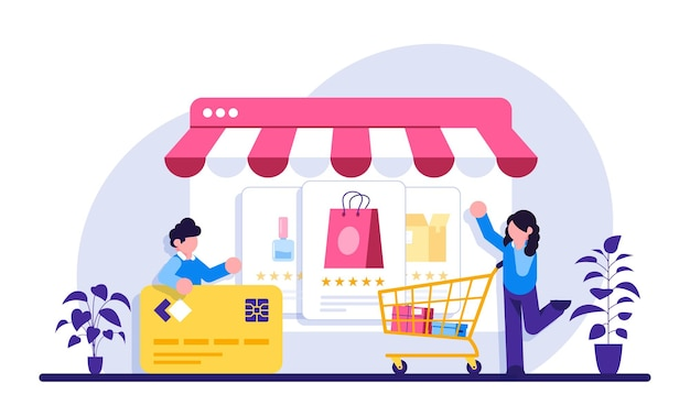 Illustration de concept de commerce électronique shopping en ligne