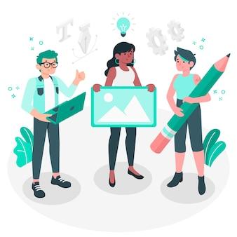 Illustration de concept de communauté de conception