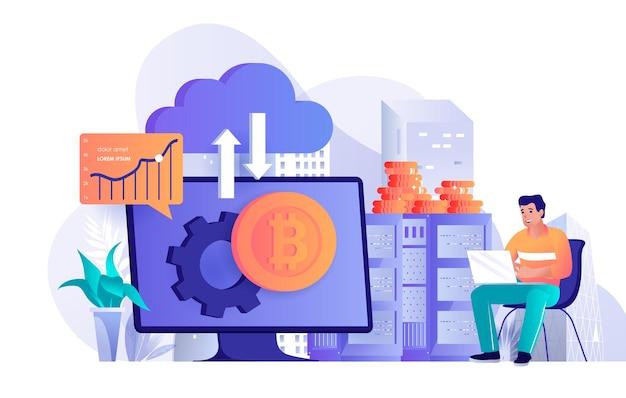 Illustration de concept de conception plate de technologie de crypto-monnaie des caractères de personnes