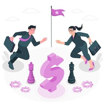 Illustration de concept de concurrence commerciale