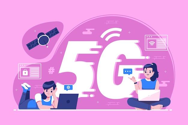 Illustration de concept de connexion réseau global cinq g