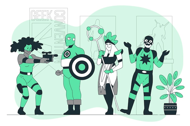 Illustration de concept de convention geek