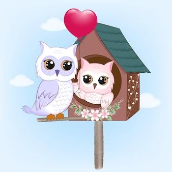 Illustration de concept de couple hibou et oiseau maison saint valentin