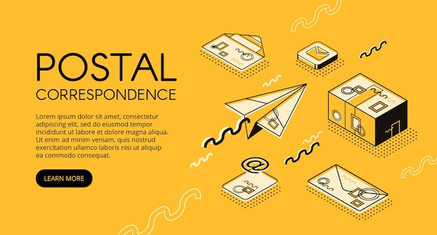 Illustration de concept courrier et correspondance. bureau de poste avec enveloppes-lettres