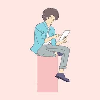 Illustration de concept de cours en ligne, études à distance, auto-éducation, bibliothèque numérique. bannière e-learning. éducation en ligne. illustration dans un style plat