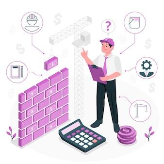 Illustration de concept de coûts de construction