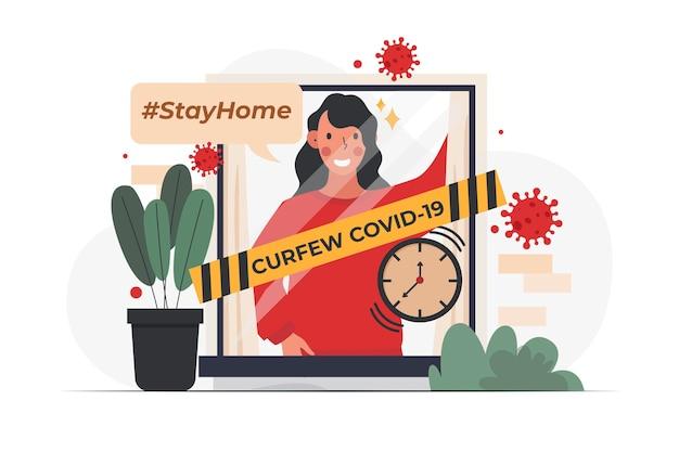 Illustration de concept de couvre-feu de coronavirus