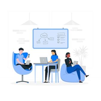 Illustration de concept de coworking