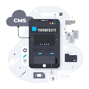 Illustration de concept créatif cms au design plat