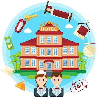 Illustration de concept créatif à plat de service hôtelier, clé, femme de chambre, cloche, lit, cinq étoiles, 24 heures, pour affiches et bannières
