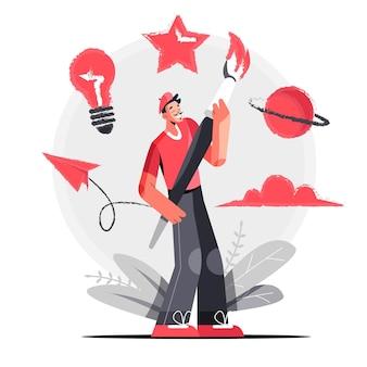 Illustration de concept de créativité plat