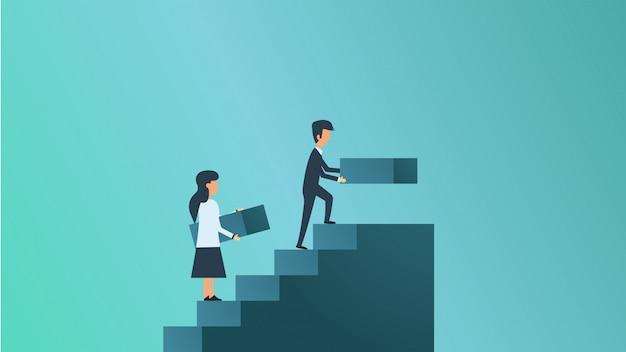 Illustration de concept de croissance d'entreprise. succès de l'ambition de la mission homme et femme
