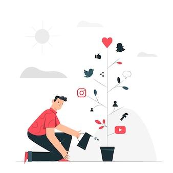 Illustration de concept de croissance sociale