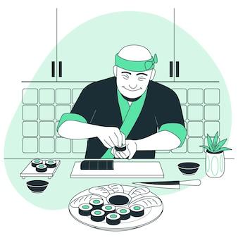 Illustration de concept de cuisinier sushi