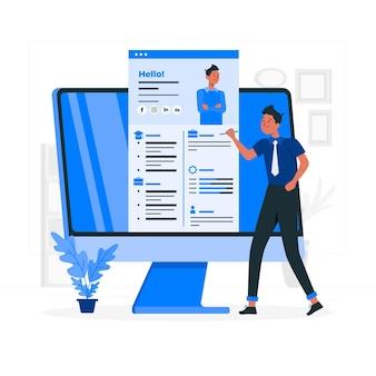 Illustration de concept de cv en ligne