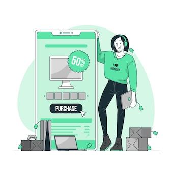 Illustration de concept cyber monday