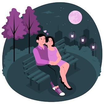 Illustration de concept de date de nuit