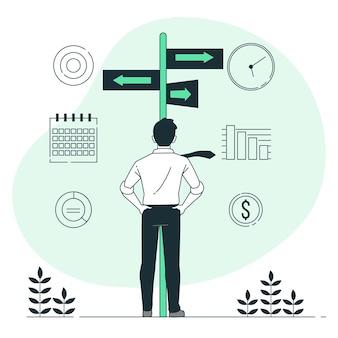Illustration de concept de décisions commerciales