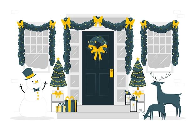 Illustration de concept de décorations de noël maison