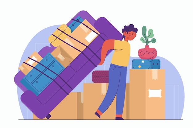 Illustration de concept de déménagement de maison