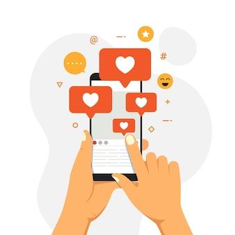 Illustration de concept de design influenceur de médias sociaux