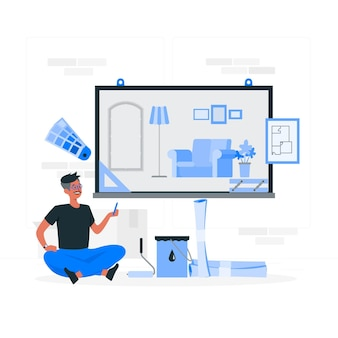 Illustration de concept de design d'intérieur