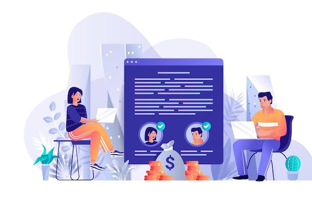 Illustration de concept de design plat de contrat électronique de personnages de personnes