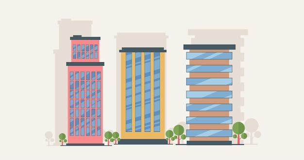 Illustration de concept de design plat de dessin animé de bâtiment traditionnel et moderne, concept de bâtiment d'entreprise immobilier