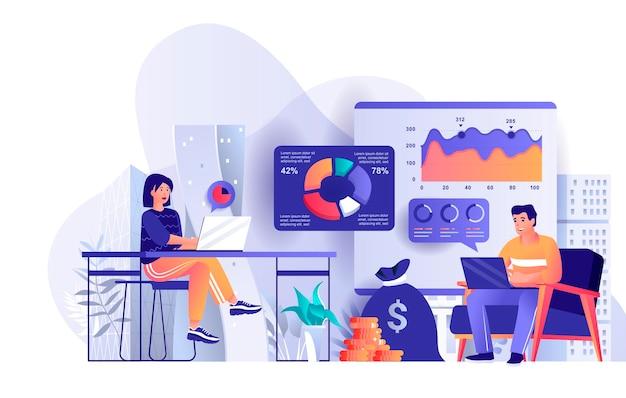 Illustration de concept de design plat statistique d'entreprise des personnages de personnes