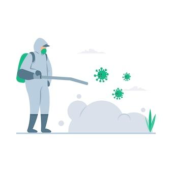 Illustration de concept de désinfection de virus