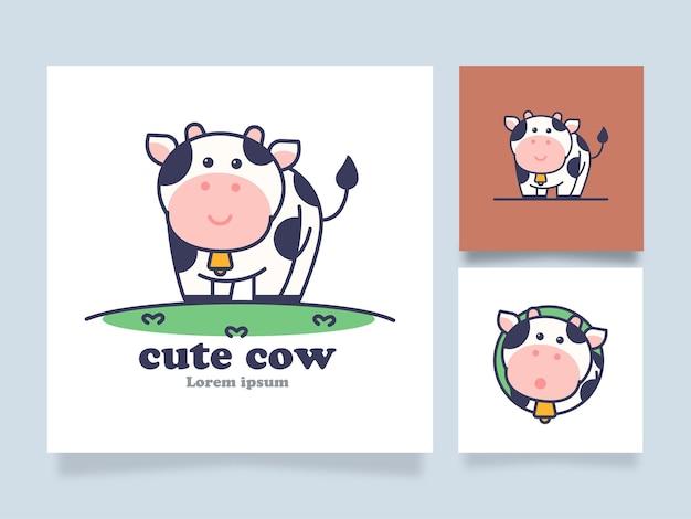Illustration de concept de dessin animé mignon vache logo avec un design alternatif
