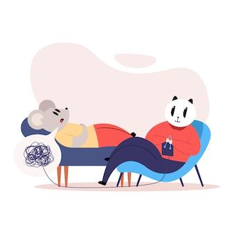 Illustration de concept de dessin animé de psychothérapie avec un chat psychothérapeute et un patient de souris et une boule de fil.