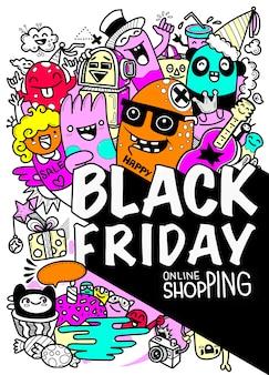 Illustration de concept dessiné à la main vendredi noir vente vendredi noir lettrage à la main et éléments de doodles et fond de symboles.