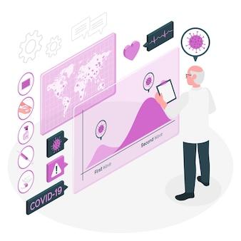 Illustration de concept de deuxième vague de coronavirus