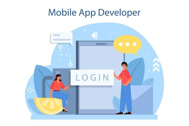 Illustration de concept de développement d'applications mobiles
