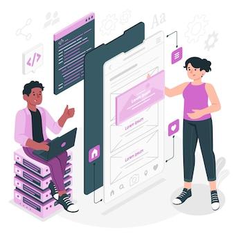 Illustration de concept de développement d'applications