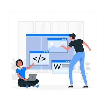 Illustration de concept de développement de code faible