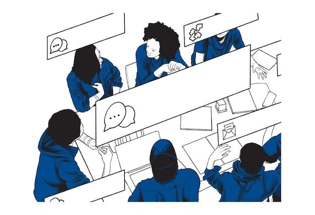 Illustration de concept de discussion de groupe